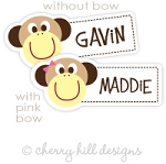 Monkey mini die cut name labels - set of 26
