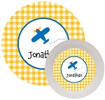 Personalized Kids Melamine Dinnerware - AIRPLANE