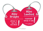 Personalized round premium bag tag - Allergy Warning
