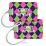 Personalized rectangle premium bag tag - ARGYLE PINK