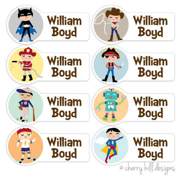 waterproof name labels - set of 64 - CHARACTER BOYS