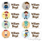 small iron-on clothing name labels - set of 56 - CHARACTER BOYS