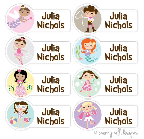 waterproof name labels - set of 64 - CHARACTER GIRLS
