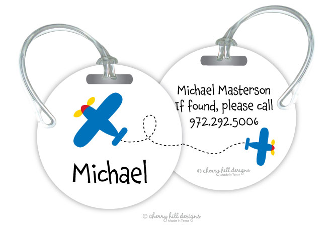Personalized round premium bag tag - AIRPLANE