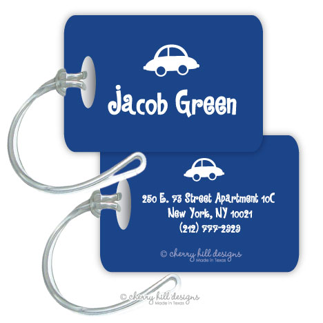 Personalized rectangle premium bag tag - BLUE CAR