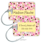 Personalized rectangle premium bag tag - CARNIVAL PINK