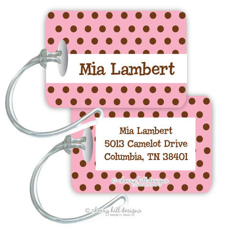 Personalized rectangle premium bag tag - CHOCOLATE DOTS PINK