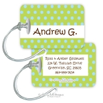 Personalized rectangle premium bag tag - CONFETTI LIME BLUE