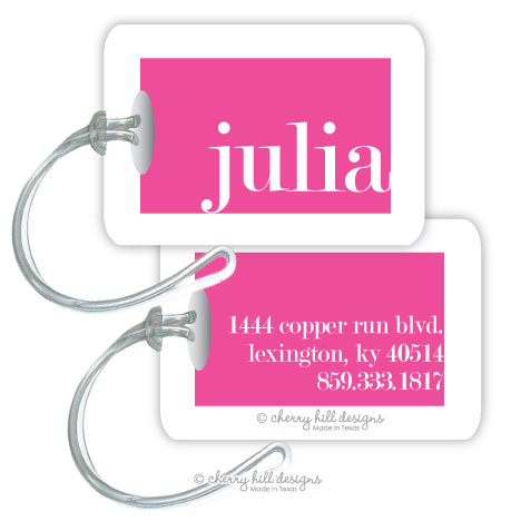 Personalized rectangle premium bag tag - COSMOPOLITAN PINK
