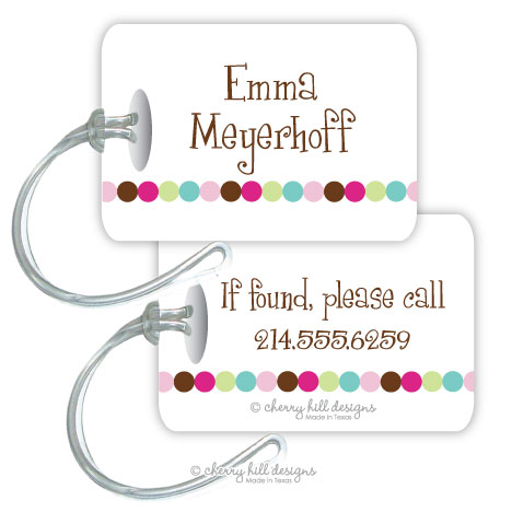 Personalized rectangle premium bag tag - DOT DOT DOT PINK