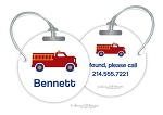 Personalized round premium bag tag - FIRE TRUCK