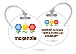 Personalized round premium bag tag - FLOWERBED