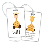 Personalized rectangle premium bag tag - GIRAFFE