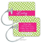 Personalized rectangle premium bag tag - GUMDROP PINK