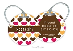 Personalized round premium bag tag - HEARTS