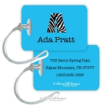Personalized rectangle premium bag tag - JET SET AQUA