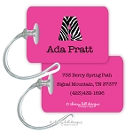 Personalized rectangle premium bag tag - JET SET MAGENTA