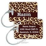 Personalized rectangle premium bag tag - JUNGLE FUN BROWN