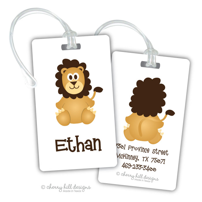 Personalized rectangle premium bag tag - LION