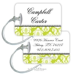Personalized rectangle premium bag tag - MARGEAUX LIME