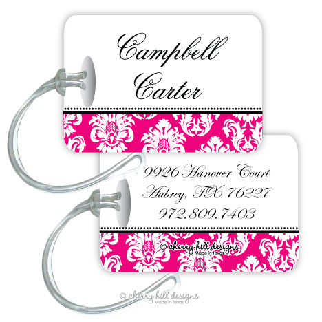 Personalized rectangle premium bag tag - MARGEAUX MAGENTA
