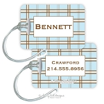 Personalized rectangle premium bag tag - PLAID BLUE