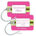 Personalized rectangle premium bag tag - PREPPY PINK