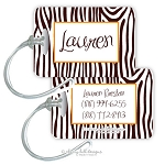 Personalized rectangle premium bag tag - ZEBRA BROWN