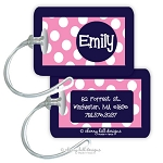 Personalized rectangle premium bag tag - SAILOR PINK