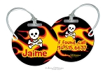Personalized round premium bag tag - FLAMES & SKULL