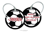 Personalized round premium bag tag - SOCCER BALL