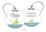 Personalized round premium bag tag - WHALE
