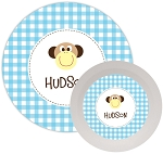 Personalized Kids Melamine Dinnerware - MONKEY BLUE