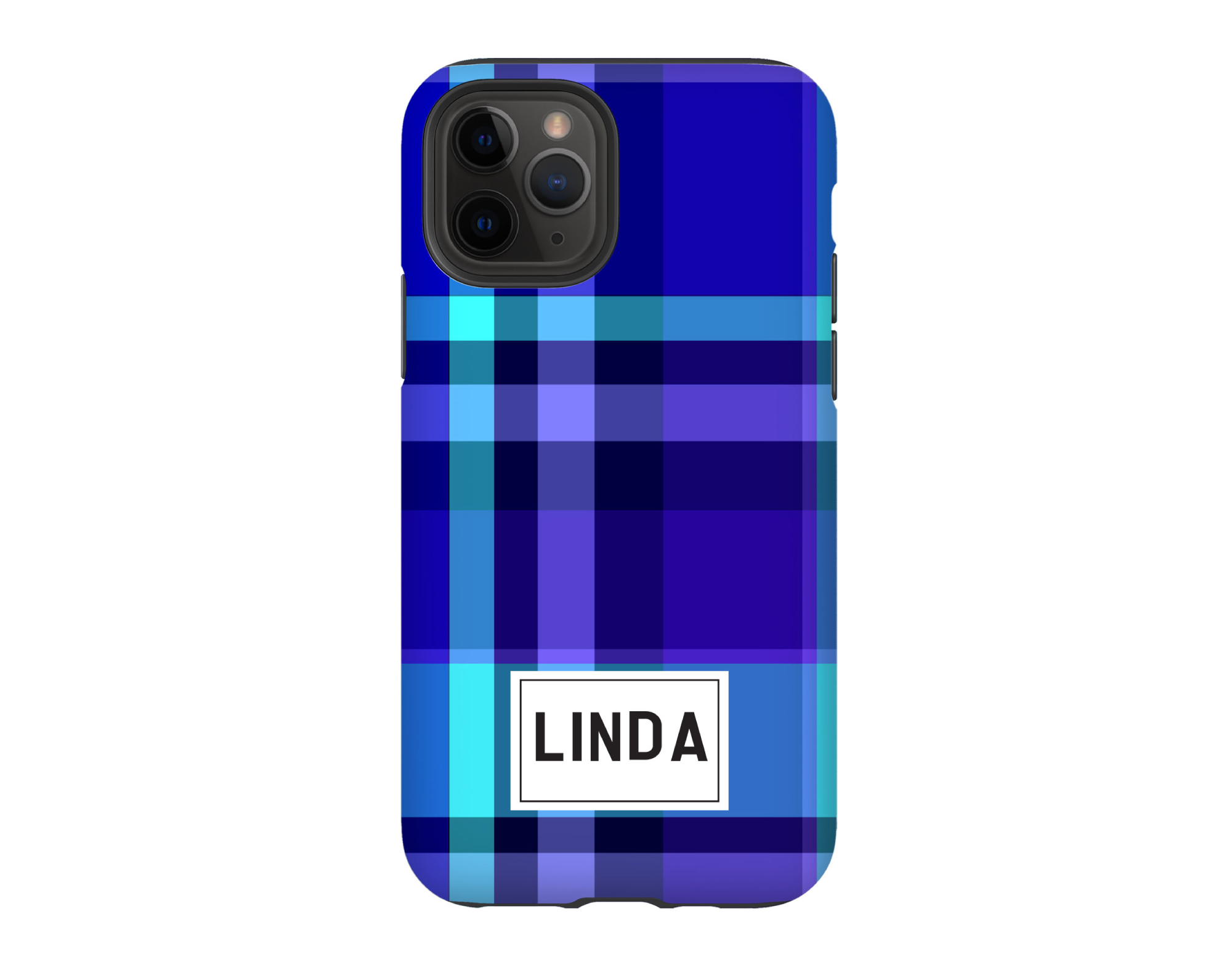 Personalized iPhone Case - BLUE PLAID
