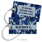 Personalized rectangle premium bag tag - CAMO BLUE