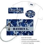 Kids Waterproof & Clothing Name Labels & Bag Tag Packs - Camo Blue