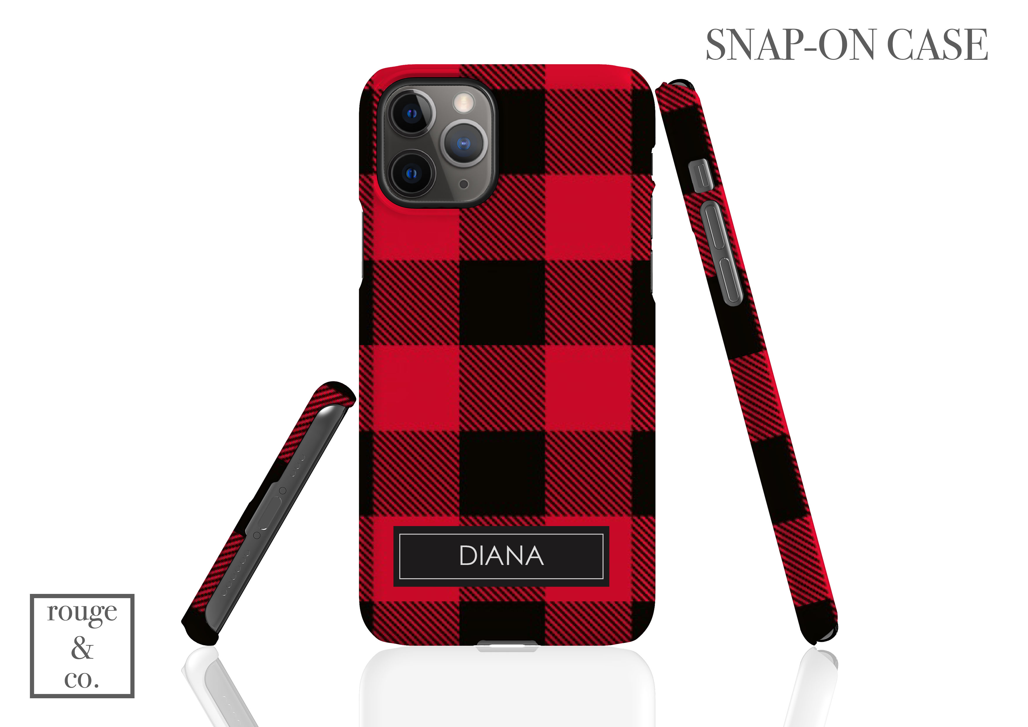 Personalized iPhone Case - BUFFALO CHECK RED