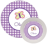 Personalized Kids Melamine Dinnerware - BUTTERFLY