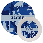 Personalized Kids Melamine Dinnerware - CAMO BLUE