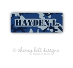Iron-on Clothing Name Labels - set of 42 - CAMO BLUE