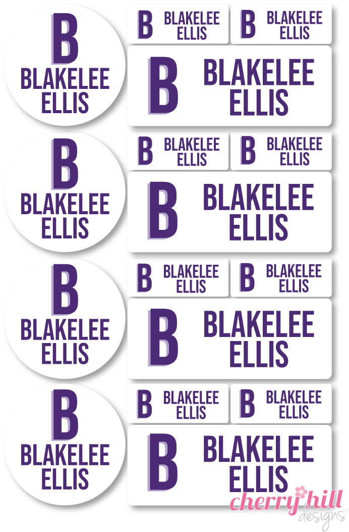 iron-on clothing name labels combo - set of 48 - MODERN BLOCK PURPLE ORCHID