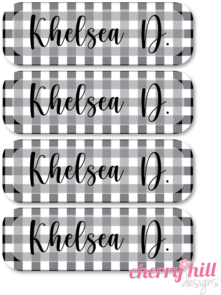 tiny iron-on clothing name labels - set of 36 - BUFFALO CHECK