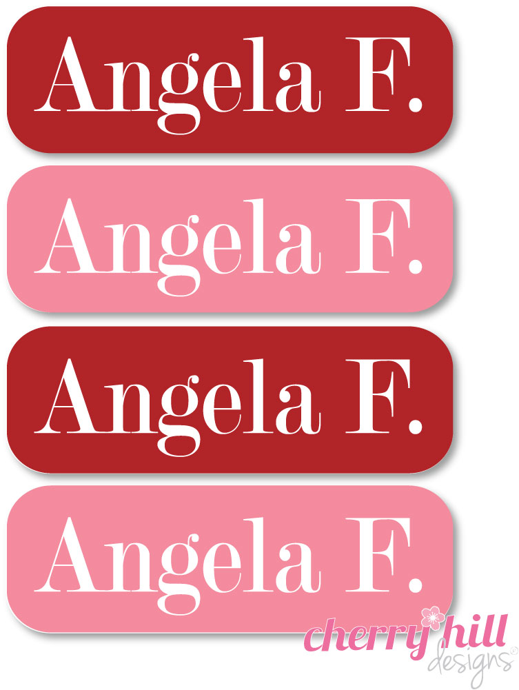 tiny iron-on clothing name labels - set of 36 - CHERRY