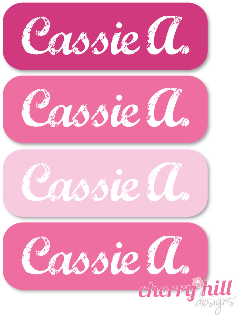 tiny iron-on clothing name labels - set of 36 - SOOO PINK