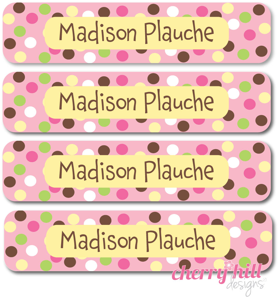waterproof name labels - set of 24 - CARNIVAL PINK
