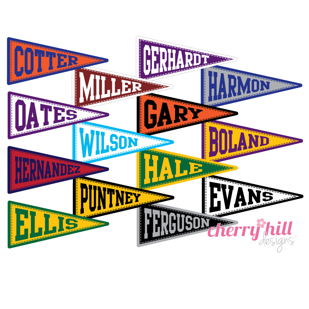 waterproof name labels - set of 24 - TEAM COLOR PENNANTS