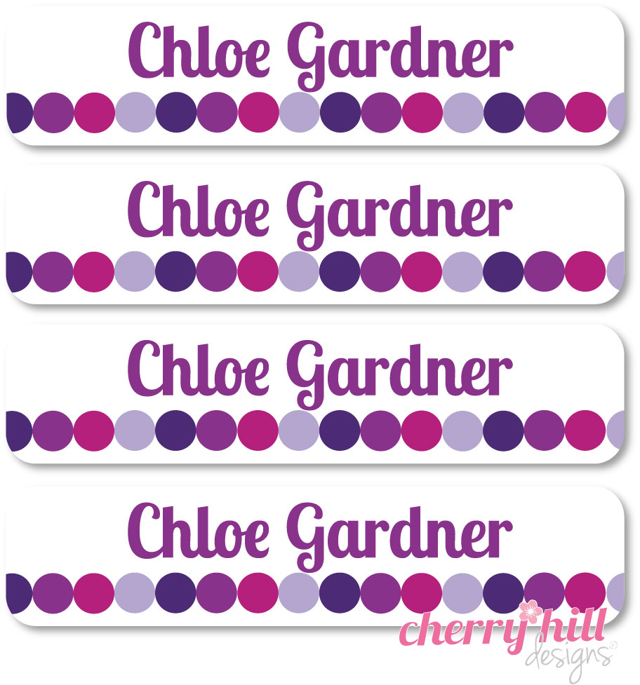 waterproof name labels - set of 24 - TOTES PURPLE