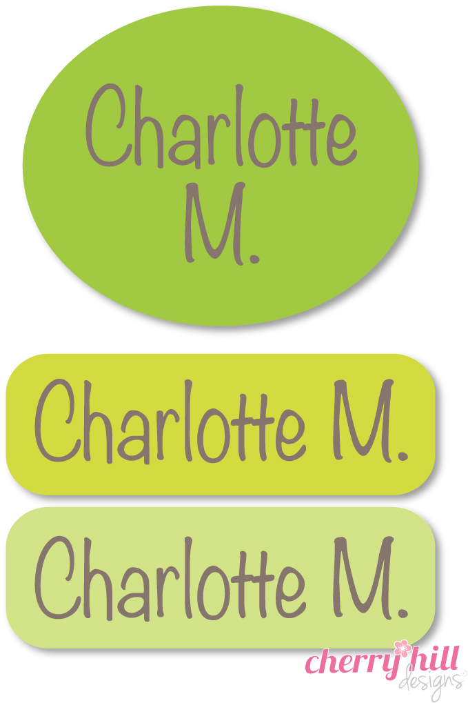Peel & stick clothing name labels - set of 72 - APPLE