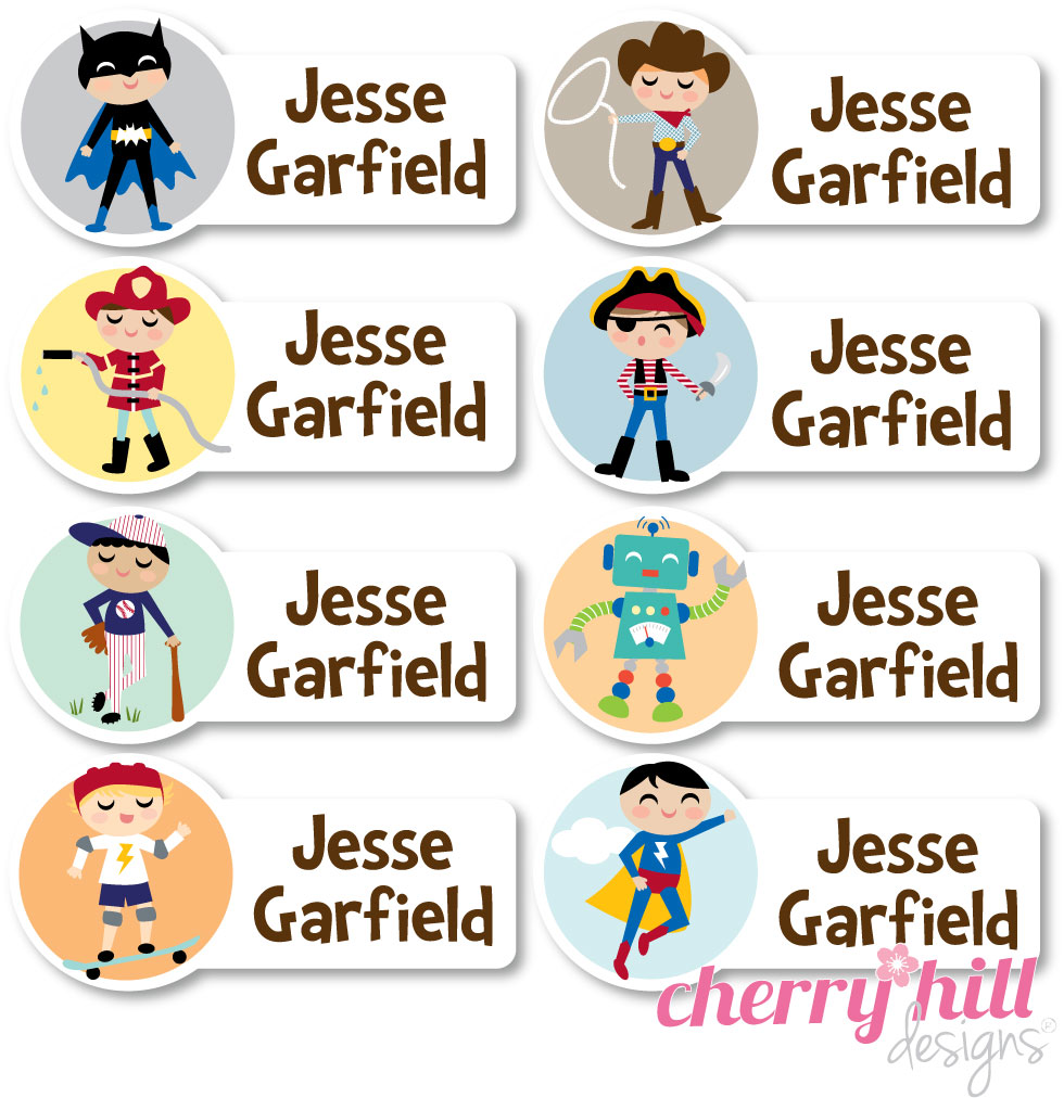 peel & stick clothing name labels - set of 56 - CHARACTER BOYS