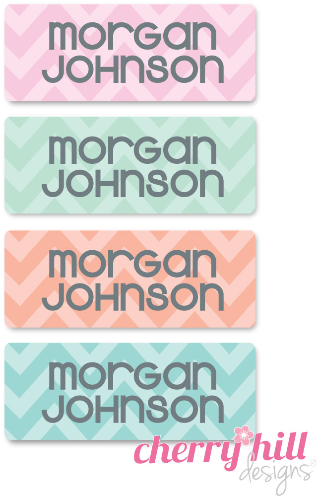 waterproof name labels - set of 72 - CHEVRON PASTELS